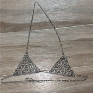Metal bra chain bra